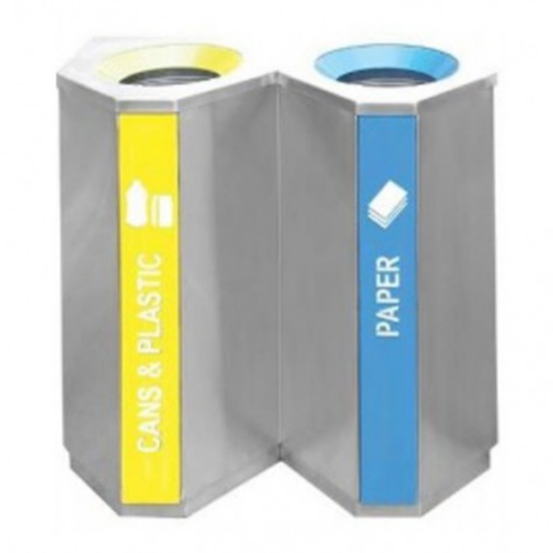 Stainless Steel Recycling Bins Stainless Steel Recycle Bin Triangle 2 In 1