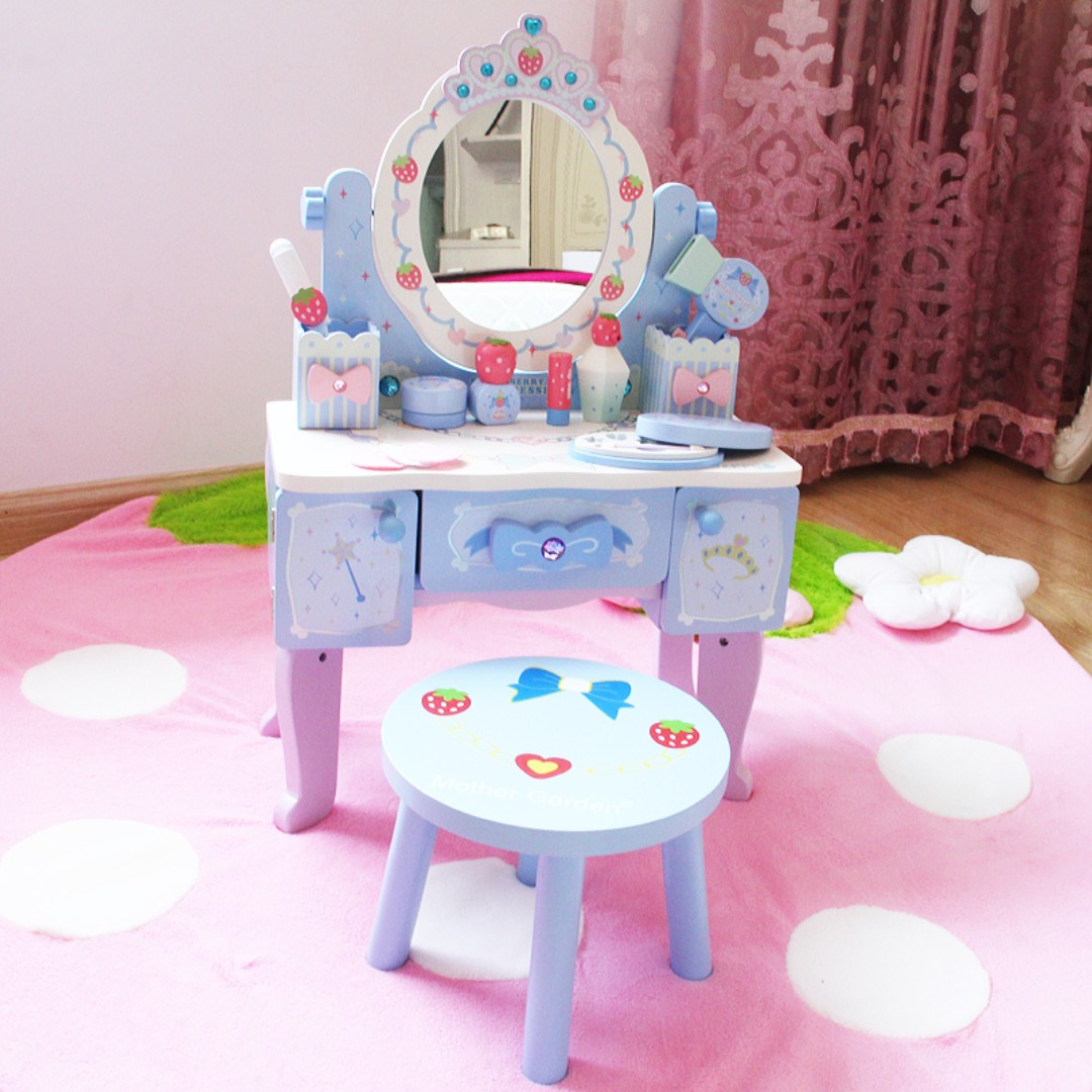 Cosmetic Table Wooden Play Pretend Dressing Table With Cosmetic Included
