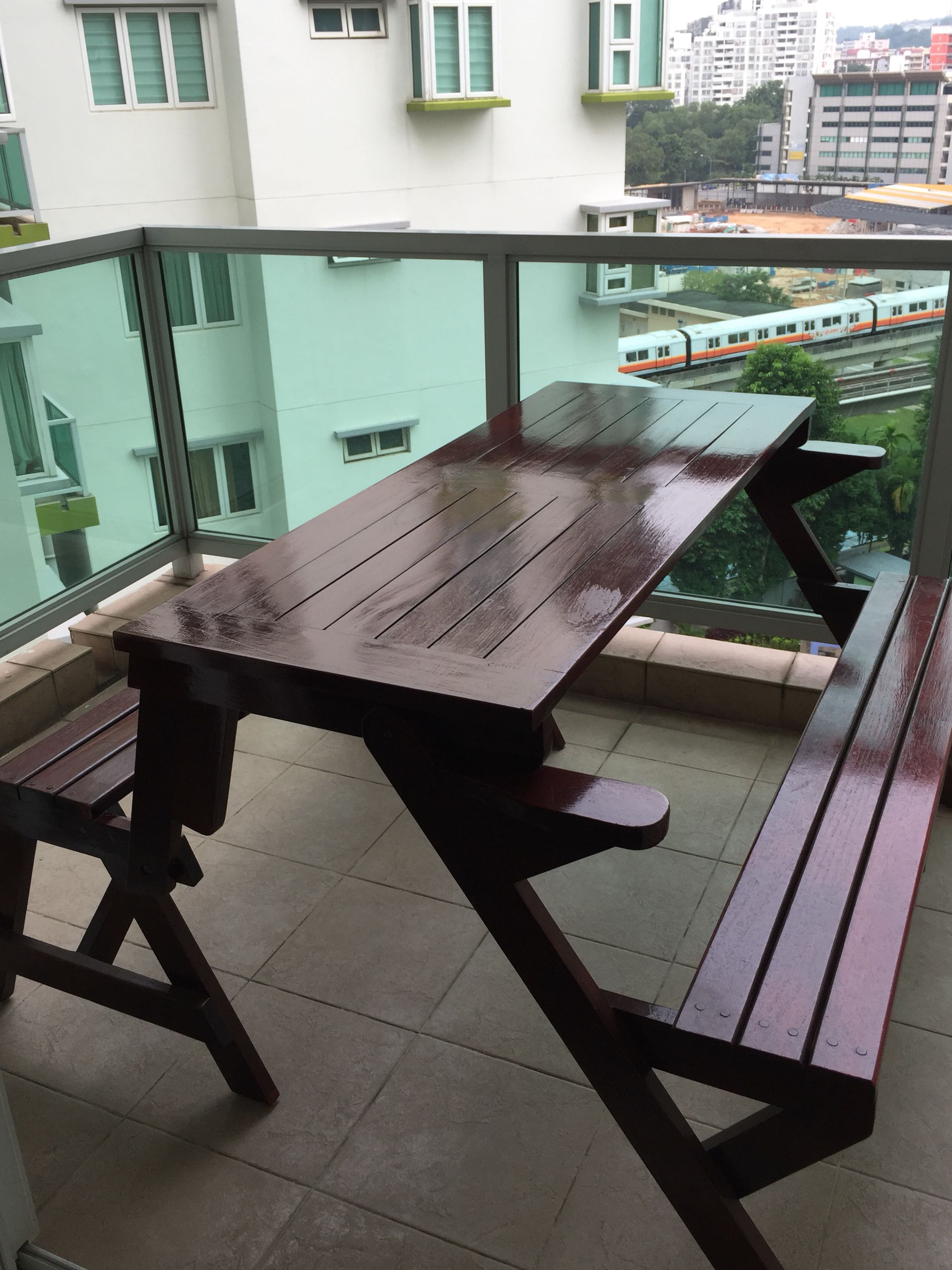 Wooden Bench Table Balcony Wooden Bench Table