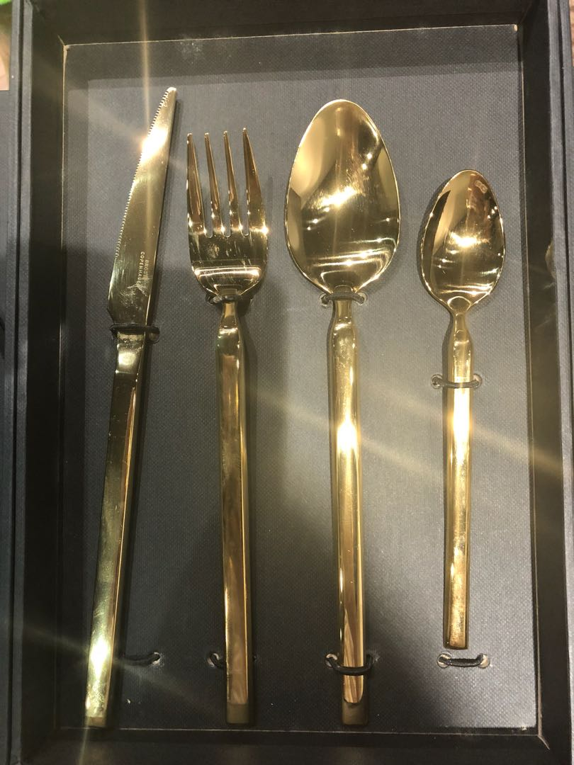 Gold Cutlery Sets 4 Sets Gold Cutlery Set