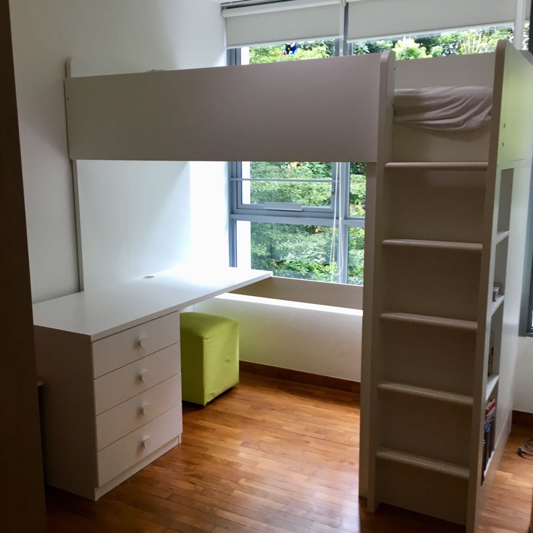 Ikea Twin Bed Frame Stuva Loft Bunk Bed With Desk/ Drawers, Furniture, Beds