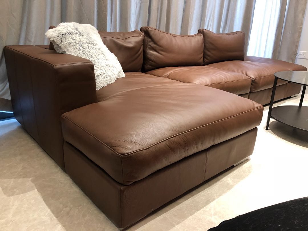 Boconcept Sofa Boconcept Mocca Estoril Leather L Shaped Sofa