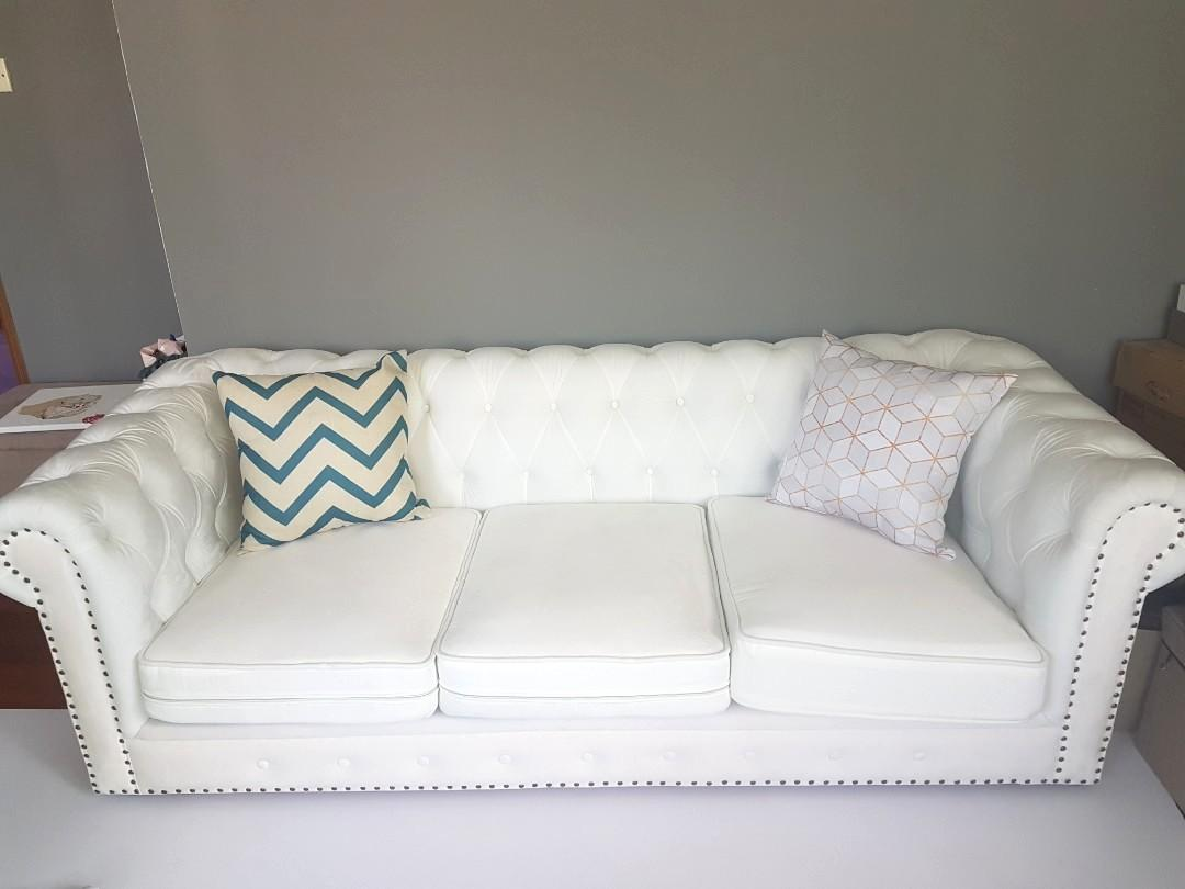 Made Sofa Velvet New White Chesterfield 3 Seater Velvet Custom Made Sofa