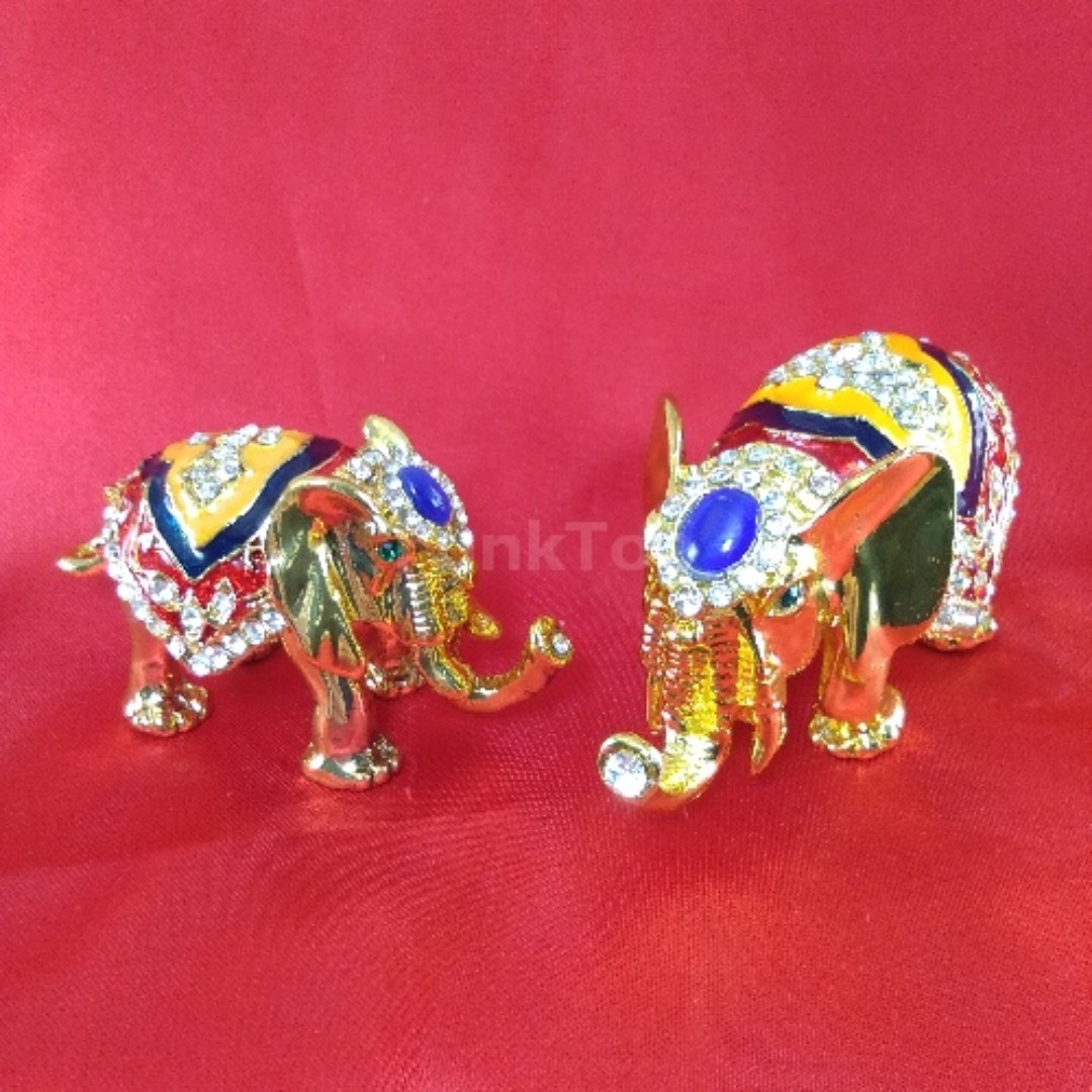 Asian Home Decor Accessories Mini Gold Elephant Jewelry Trinket Storage Box Holder Container