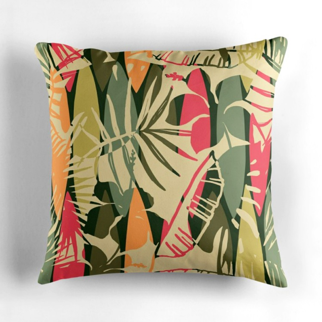 Retro Cushions Tropical In Retro Color Throw Pillow Cushion Cover