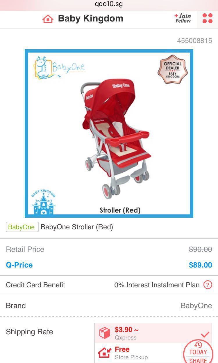 Babyone Baby Jogger Fast Deal Babyone Red Prams