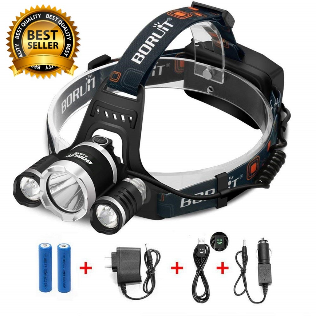 Waterproof High Power Headlamp 2 Led Plus Red Led For Night Vision - Laternen Lampen