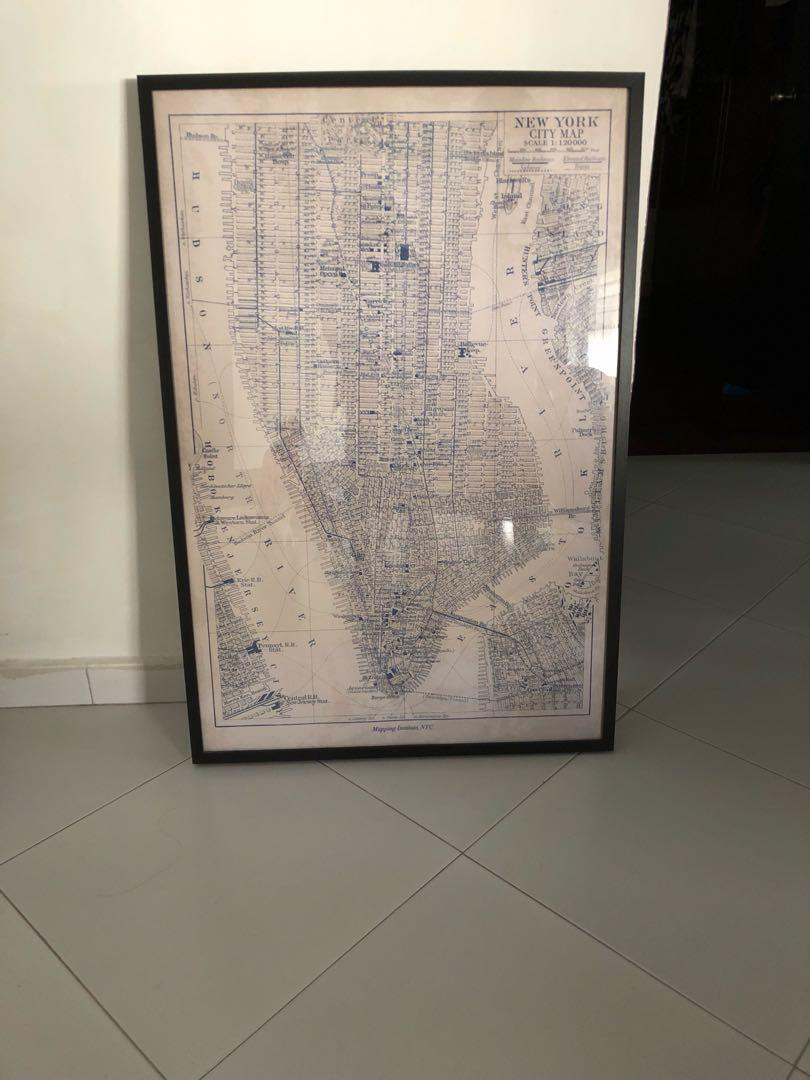 New York Poster Ikea Ikea Frame With New York Map Furniture Home Decor Others