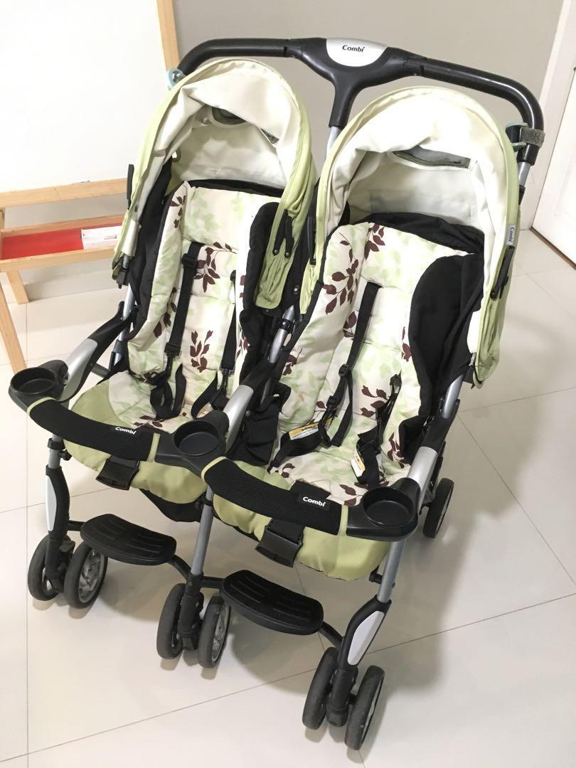 Combi Double Stroller Side By Side Combi Twin Sport Side By Side Double Stroller Green