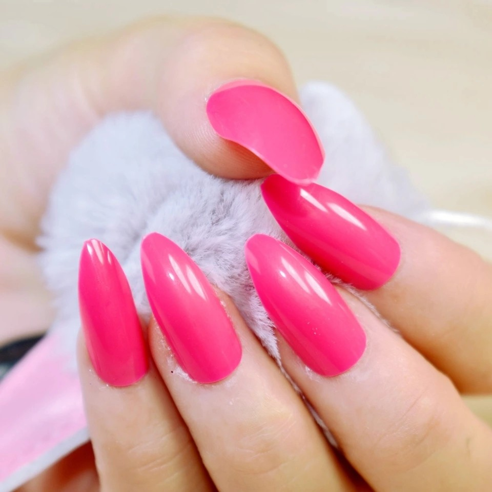 Faux Ongles Stiletto Point Shape Fake Nails Candy Hot Rose Red Faux Ongles Full Cover False Abs Nails Artificial Tips 24pcs