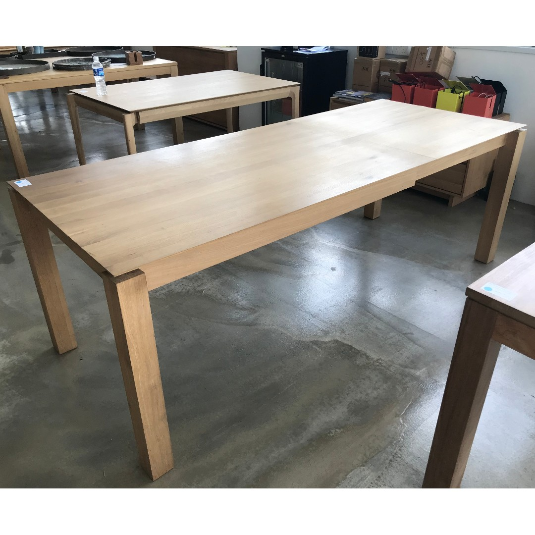 Table 140 Ethnicraft Oak Slice Extendable Dining Table 140 220cm
