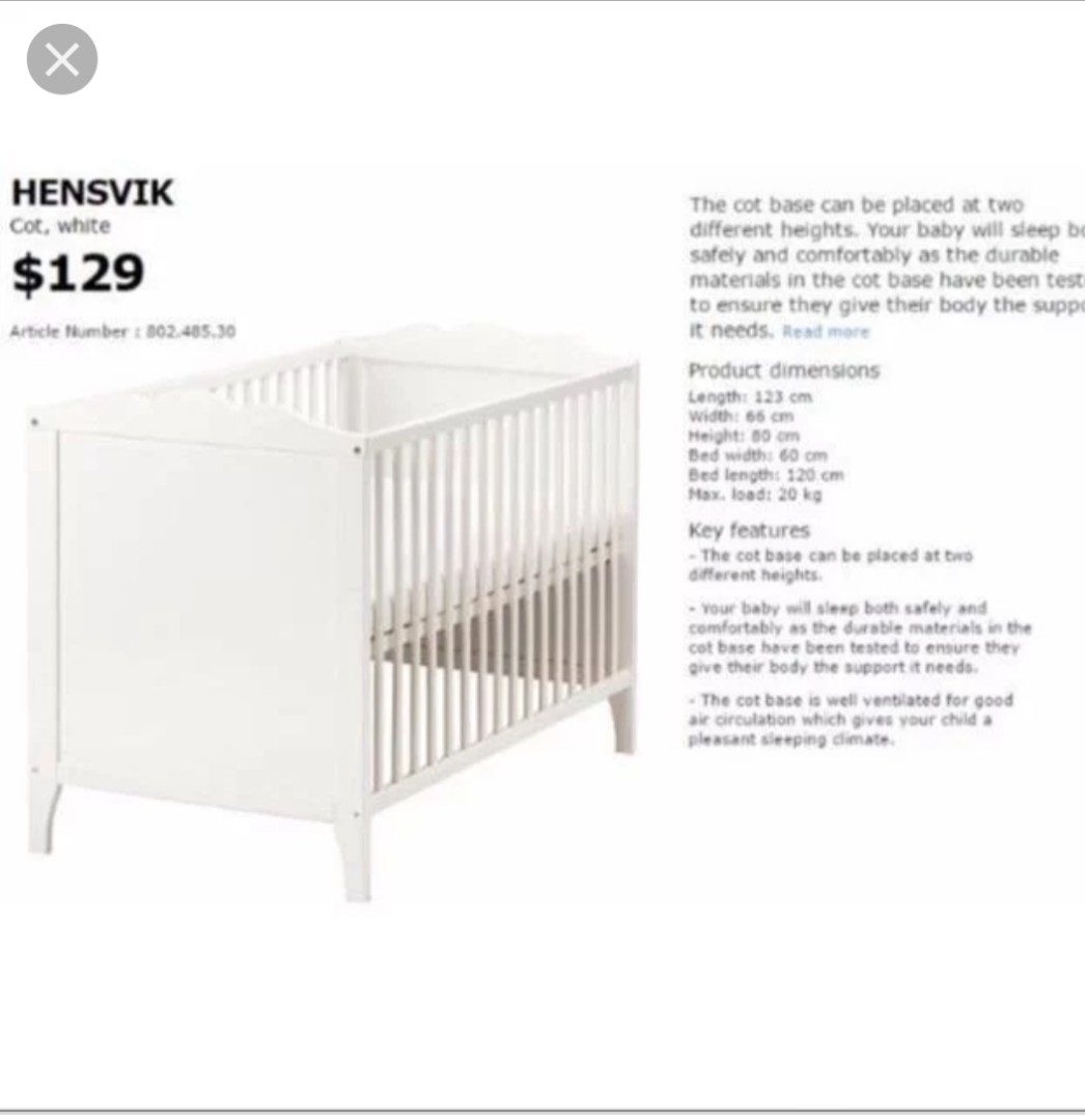 Baby Cradle Dimensions Ikea Hensvik Baby Cot Babies Kids Cots Cribs On Carousell