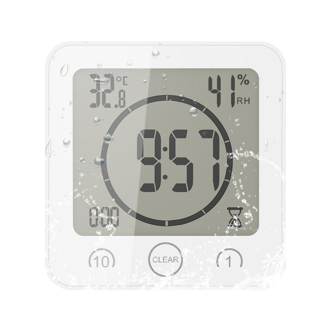 Alarm Timer U1878 Shower Clock Waterproof Digital Clock Timer Clock With Alarm Bathroom Clock With Temperature Humidity Display 3 Mounting Ways Countdown