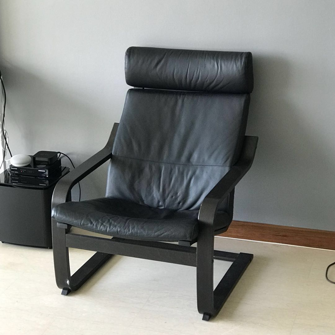 Ikea Black Chair Ikea Poang Lounge Arm Chair Black Leather