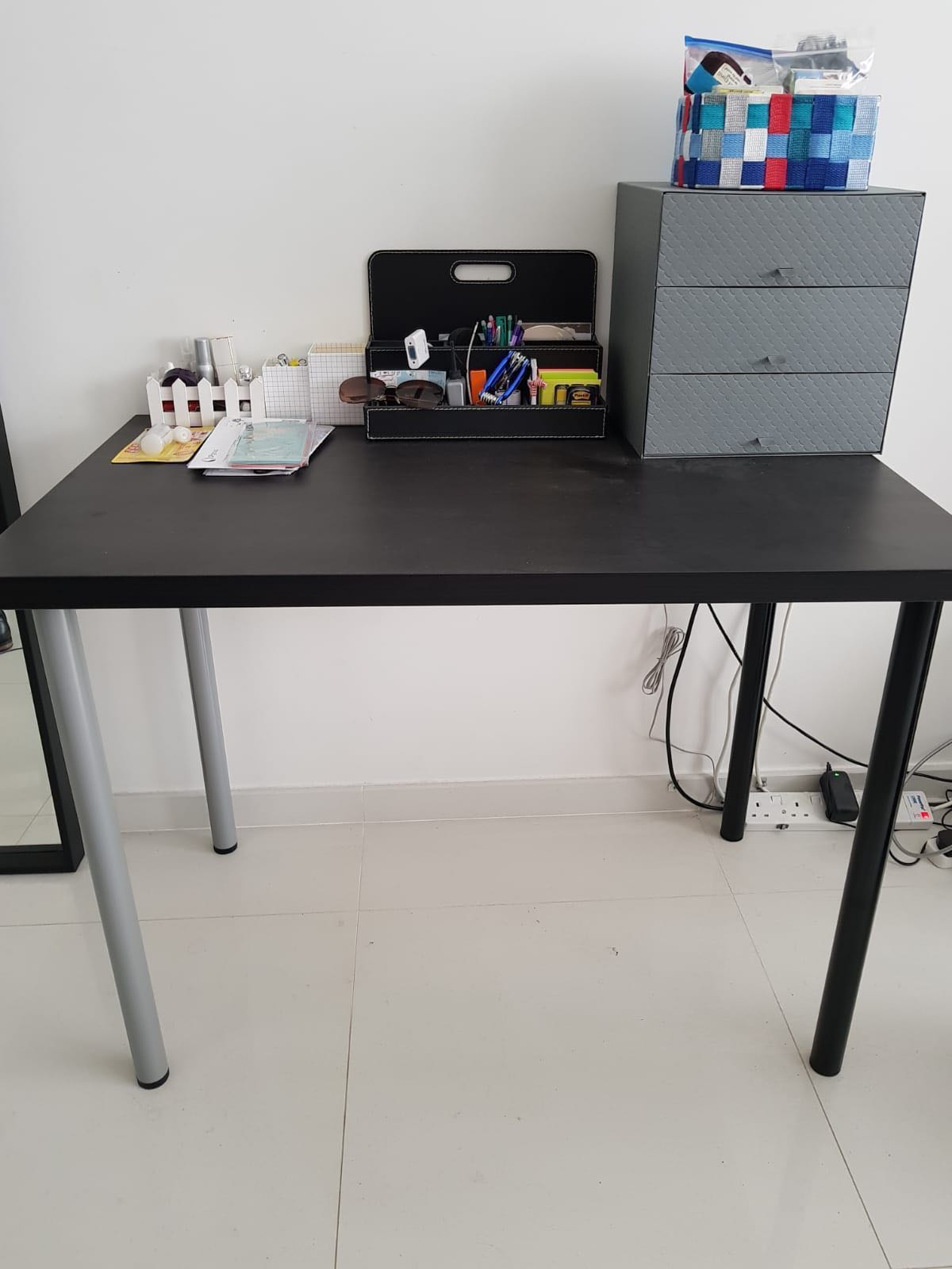 Linnmon Ikea Linnmon Table Top 2 Adils Black And 2 Silver Legs
