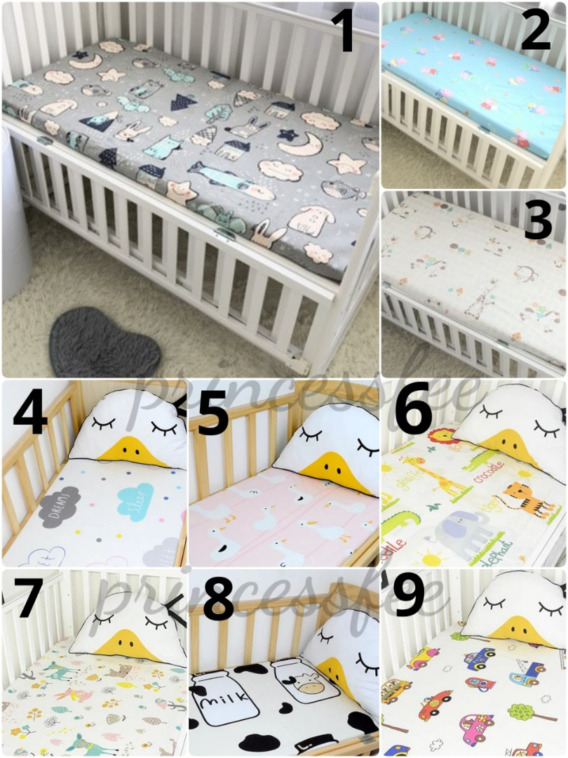 Baby Cradle Sheets Crib Cot Fitted Sheet Baby Premium Bed Cot Sheet Bedsheet Children Bedsheet Childcare Mattress Standard Mattress