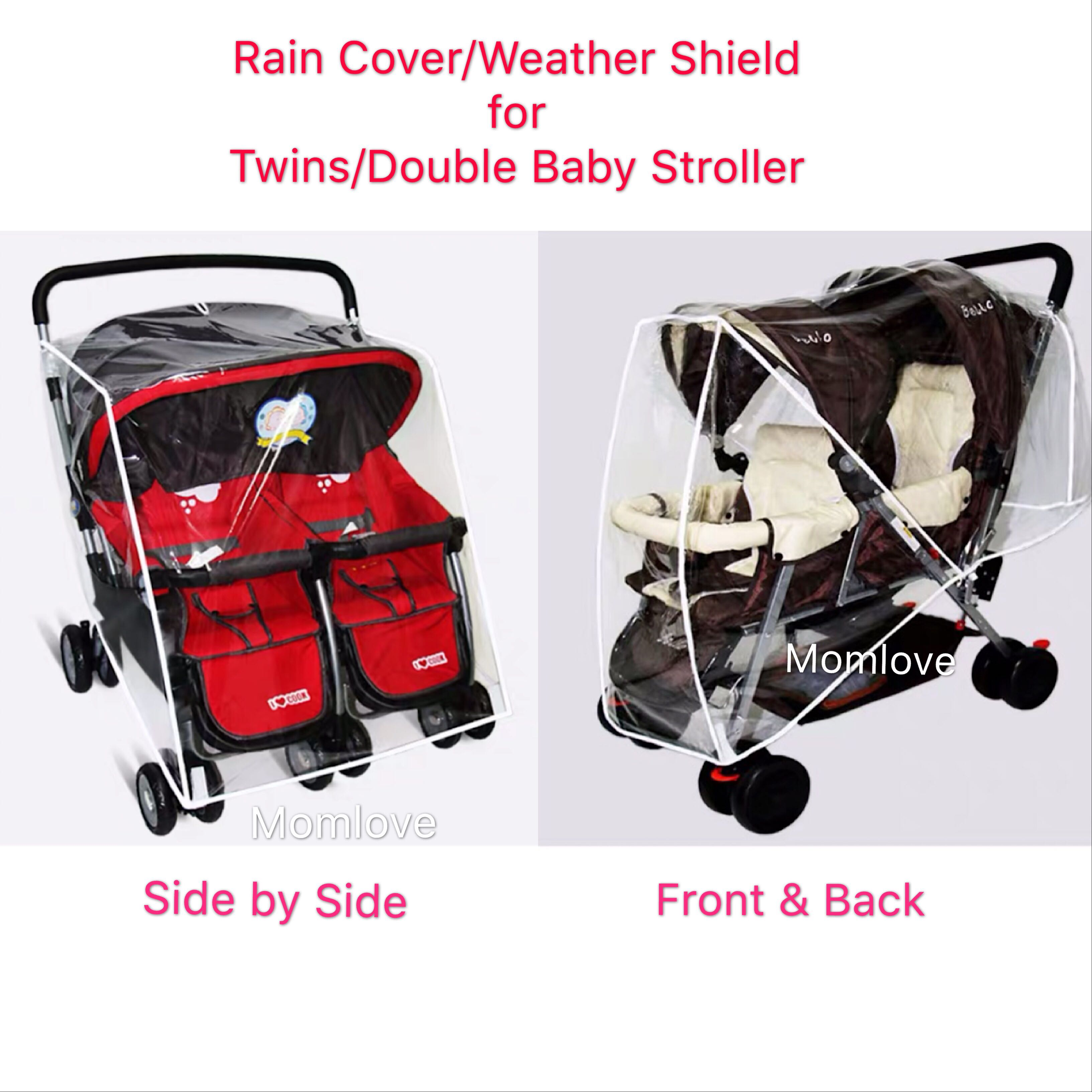 Double Stroller Rain Cover Ready Stock Brand New Rain Cover Weather Shield Canopy For Twins Or Double Baby Stroller Pram Tricycle Must Buy