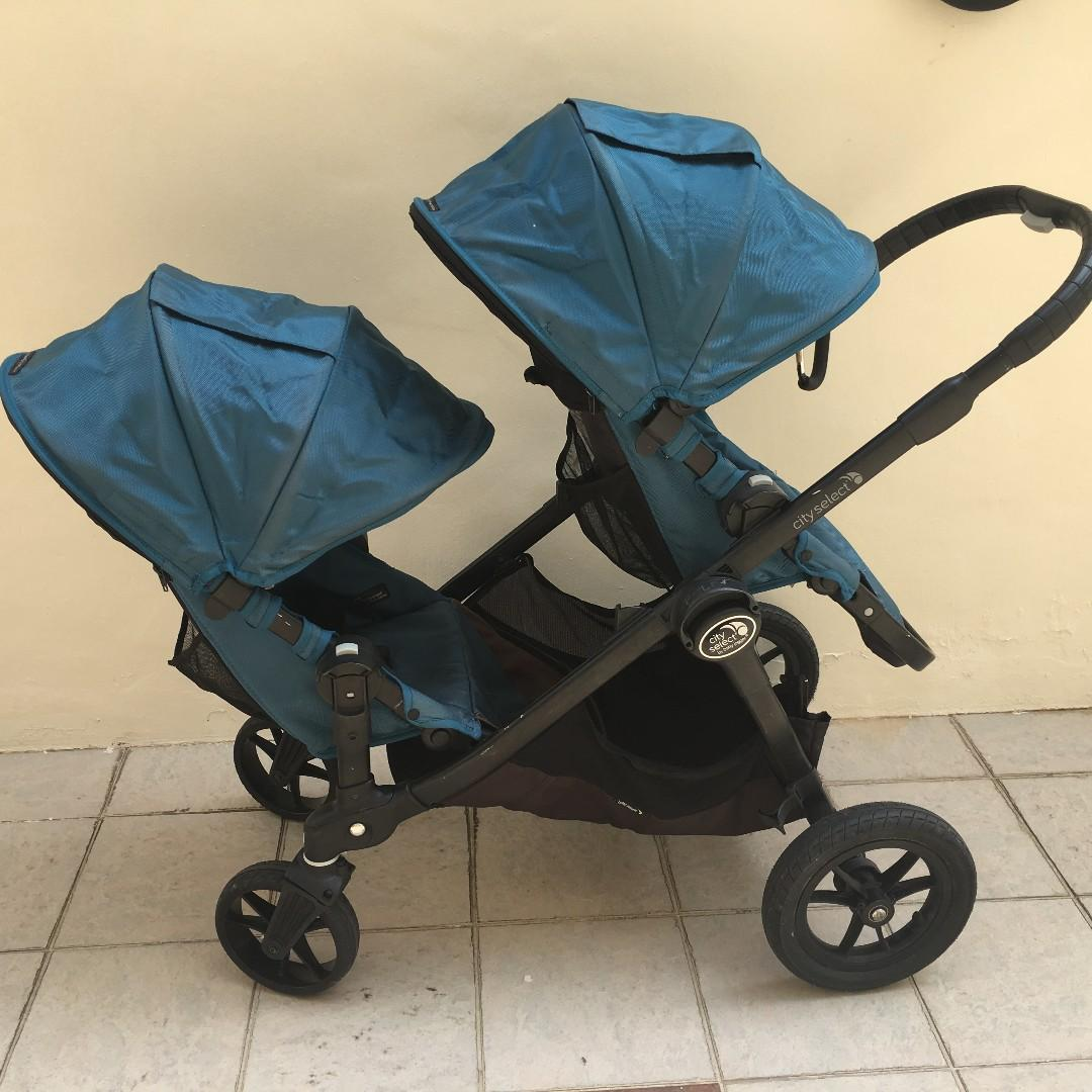 Triple Pet Stroller Baby Jogger City Select Single Double Stroller Teal