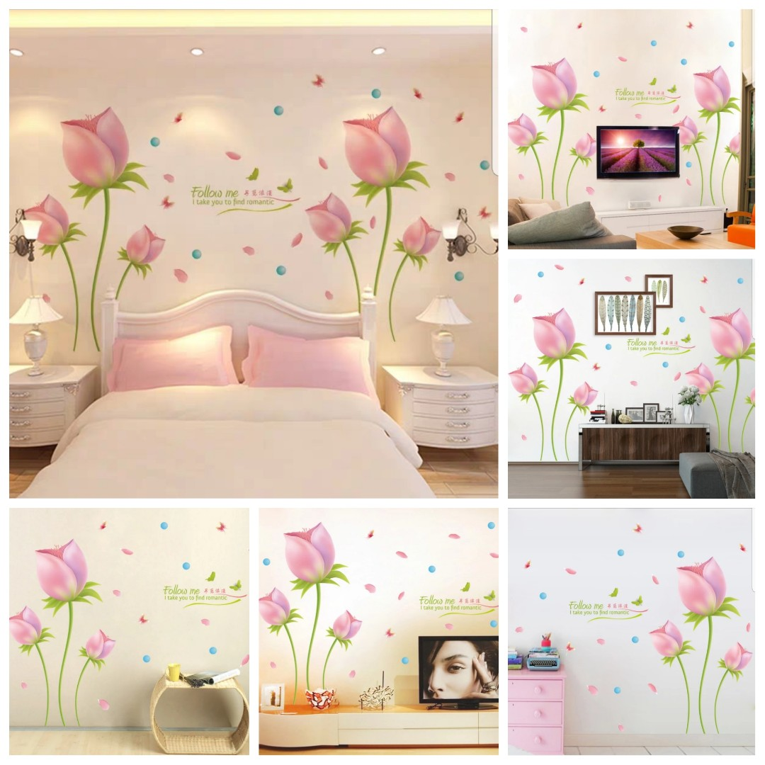 Photo Decoration In Room Romantic Pink Tulip Wall Sticker Warm Bedroom Decor Sticker Living Room Tv Background Decoration Removable Sticker Size See Last Picture Cm 2