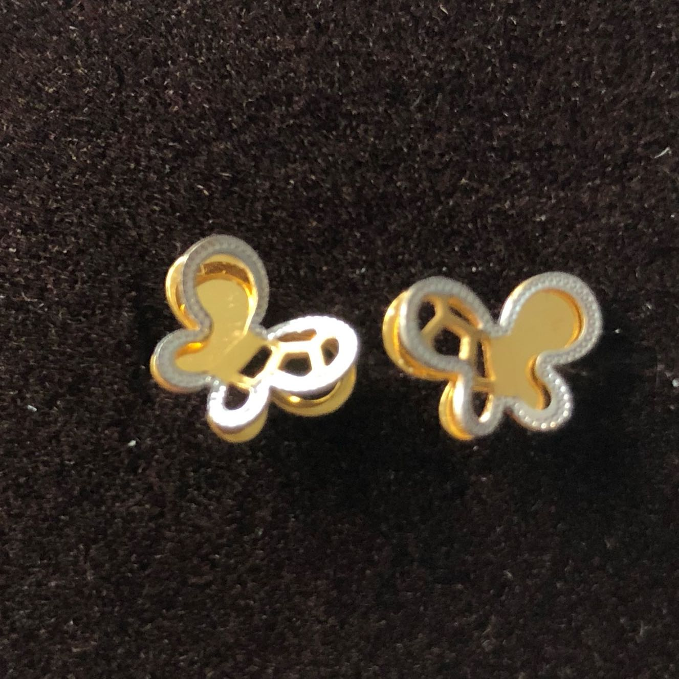 Italy Design Jewelry 916 Italy Design Butterfly Design 2 Tone Earrings