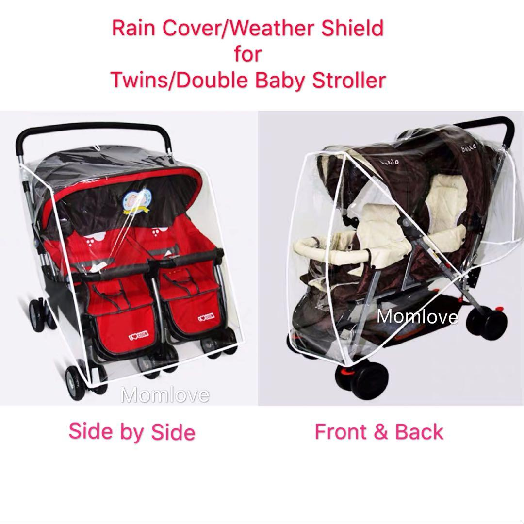 Combi Double Stroller Side By Side Brand New Rain Cover Weather Shield Canopy For Double
