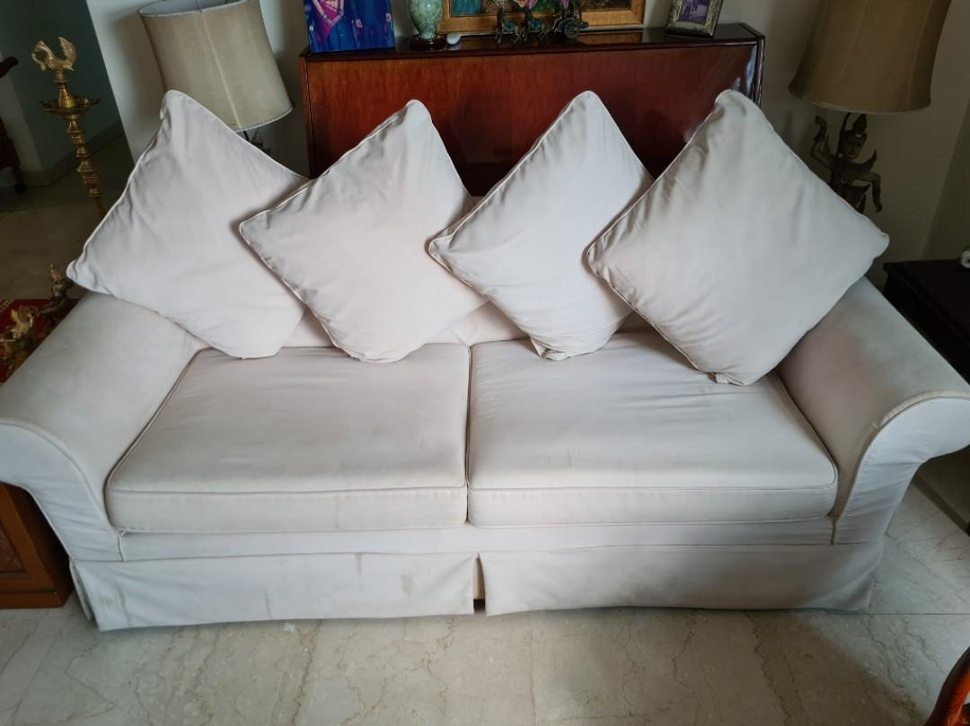 Renovation Sale Must Go 3 Seater Fabric Sofa 86 In X 36 In Furniture Sofas On Carousell