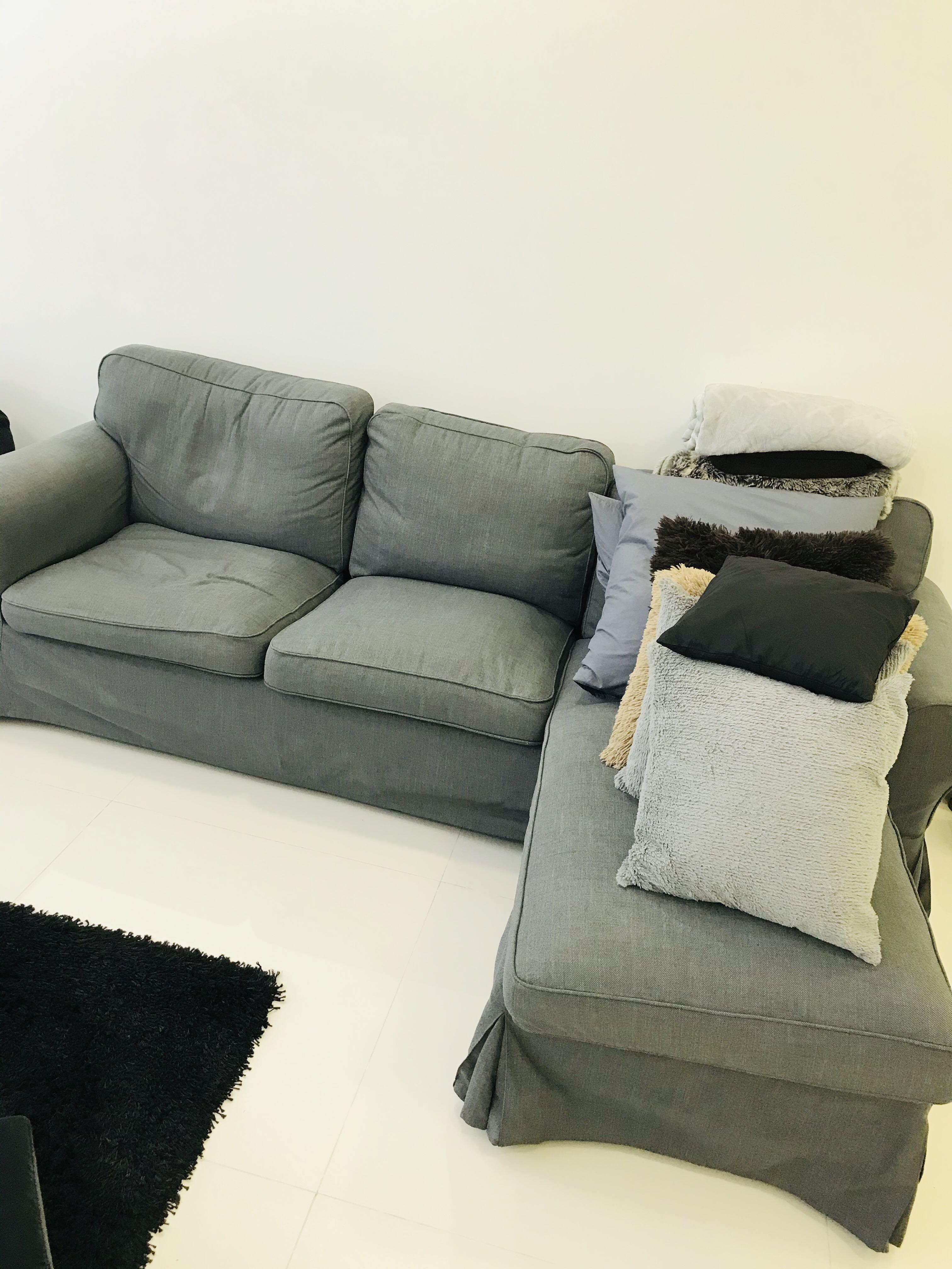 400 Fire Sale Lightly Used Grey Fabric Sofa Furniture Sofas On Carousell