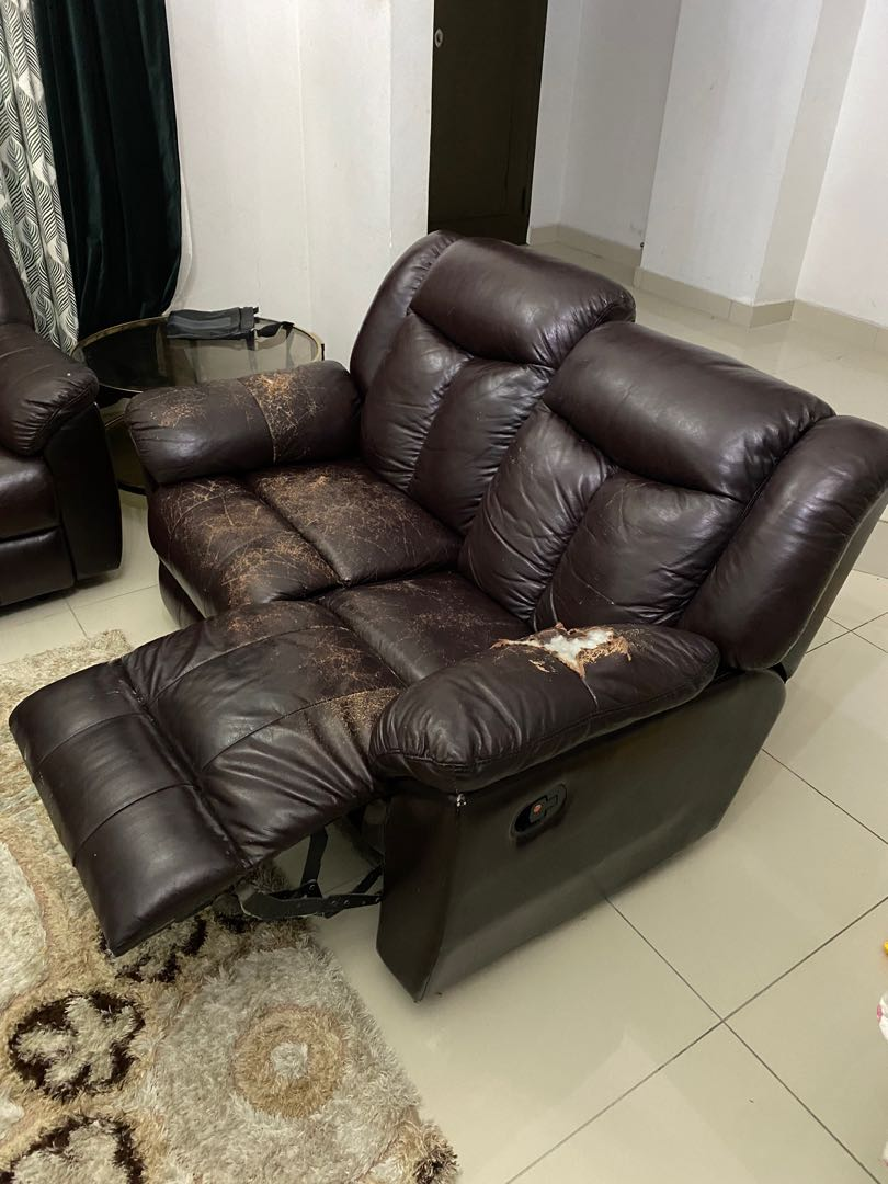 Leather Sofa Recliner Home Furniture Furniture On Carousell