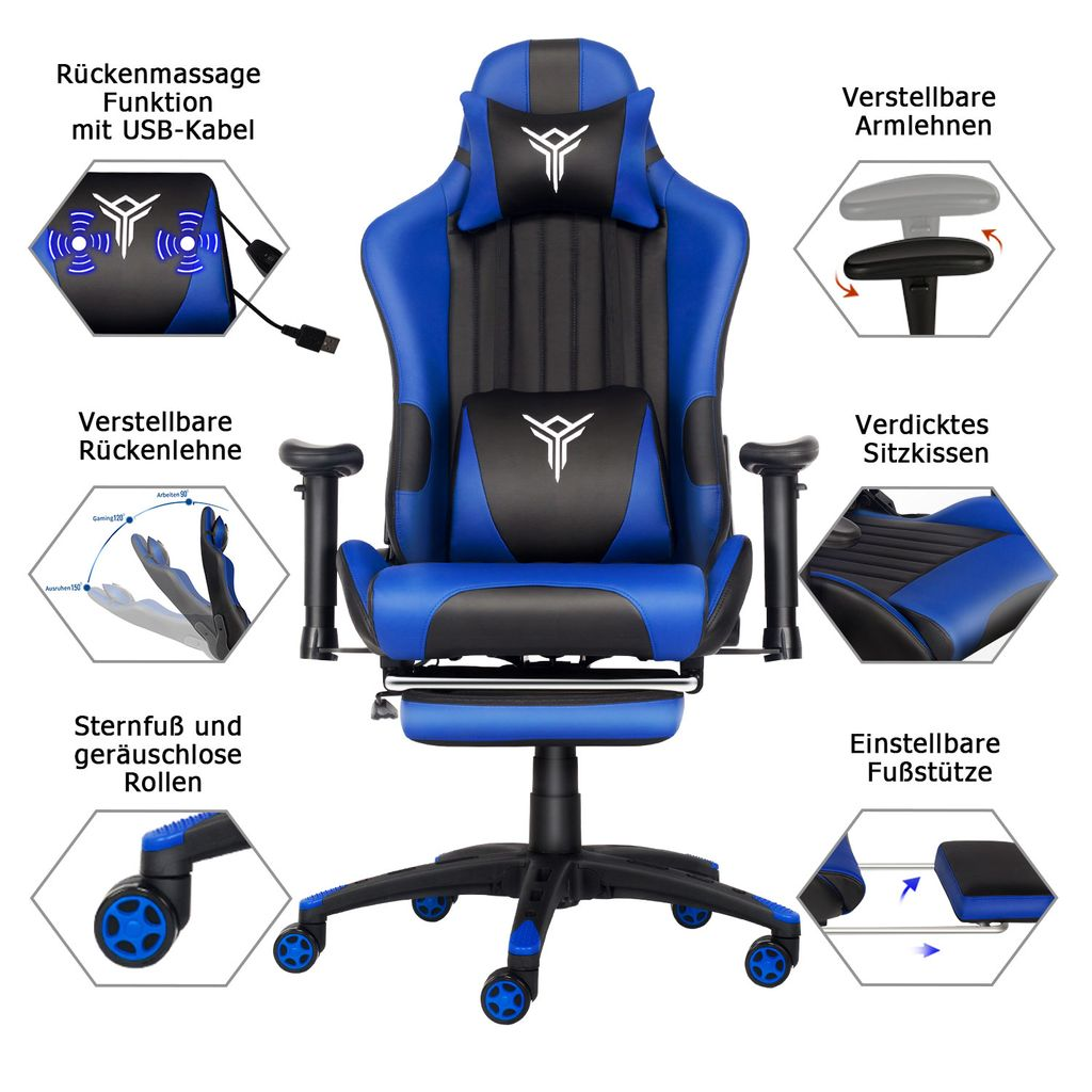Massage Racing Gaming Stuhl Bürostuhl Kaufland De