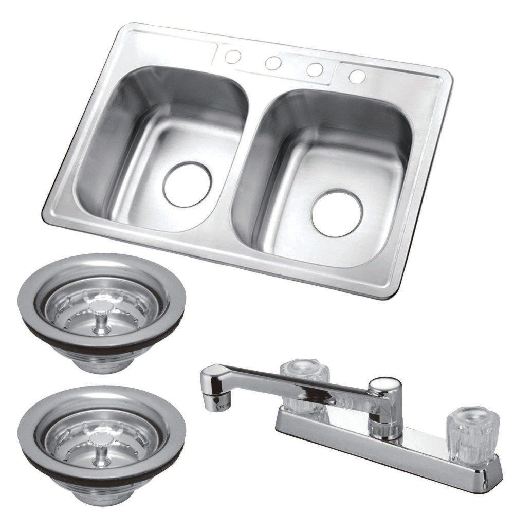 Kingston Brass Kz33226 Self Rimming Double Bowl Kitchen
