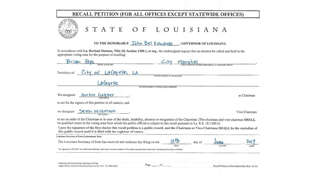 Secretary of State\u0027s office approves petition to recall Lafayette