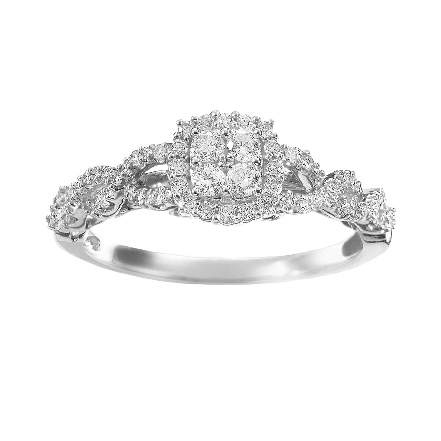 simply vera vera wang diamond twist frame engagement ring in 14k white gold 13 ct tw kohl's wedding rings Simply Vera Vera Wang Diamond Twist Frame Engagement Ring in 14k White Gold 1 3 ct T W