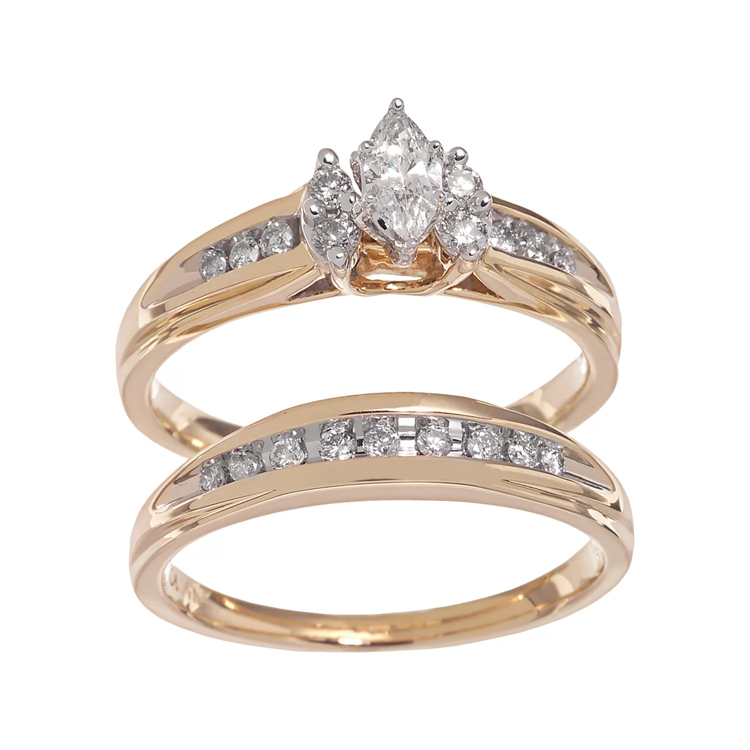 cherish always marquise cut diamond engagement ring set in 14k gold 12 ct tw kohl's wedding rings Cherish Always Marquise Cut Diamond Engagement Ring Set in 14k Gold 1 2 ct T W