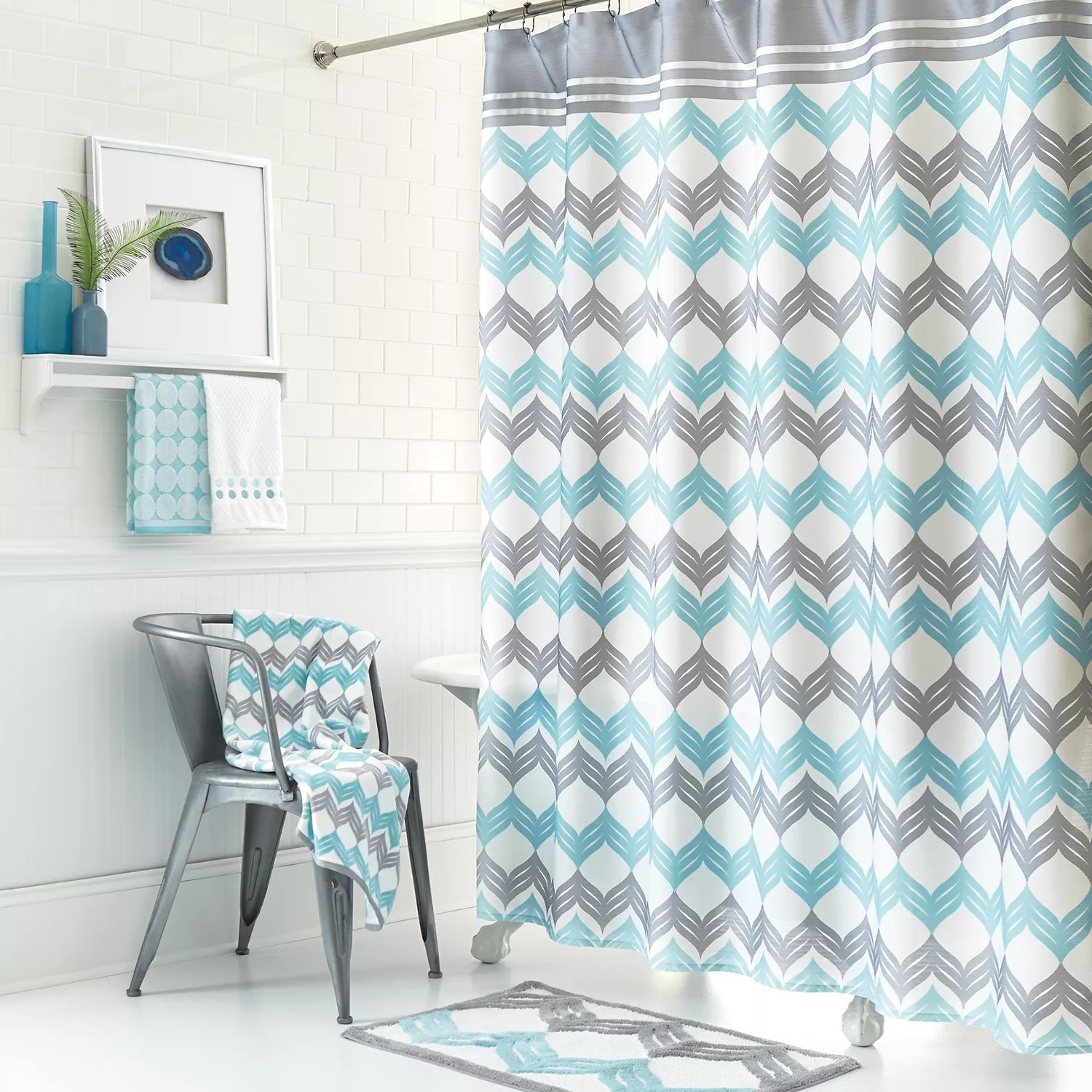 Kohls Com Shower Curtains Mondrian Chevron Fabric Shower Curtain