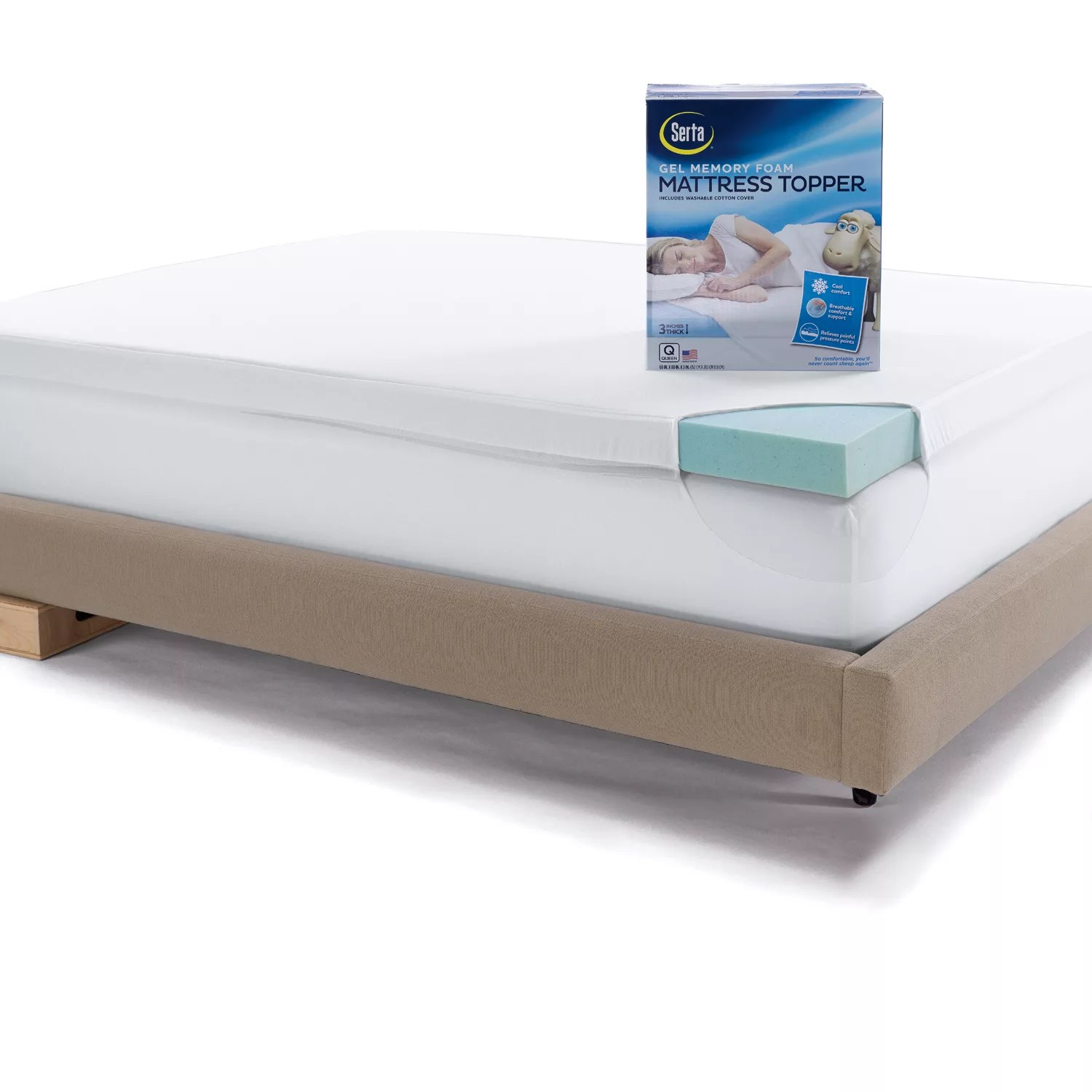Memory Foam Mattress Toppers Serta 3 Inch Deep Pocket Gel Memory Foam Mattress Topper