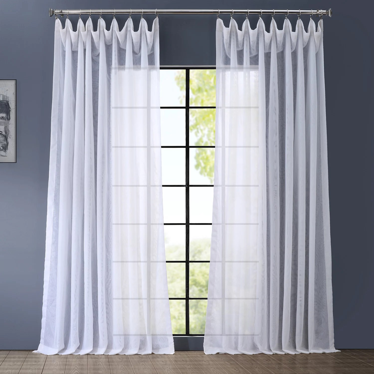 Curtain For Double Window Eff 1 Panel Signature Sheer Double Wide Window Curtain
