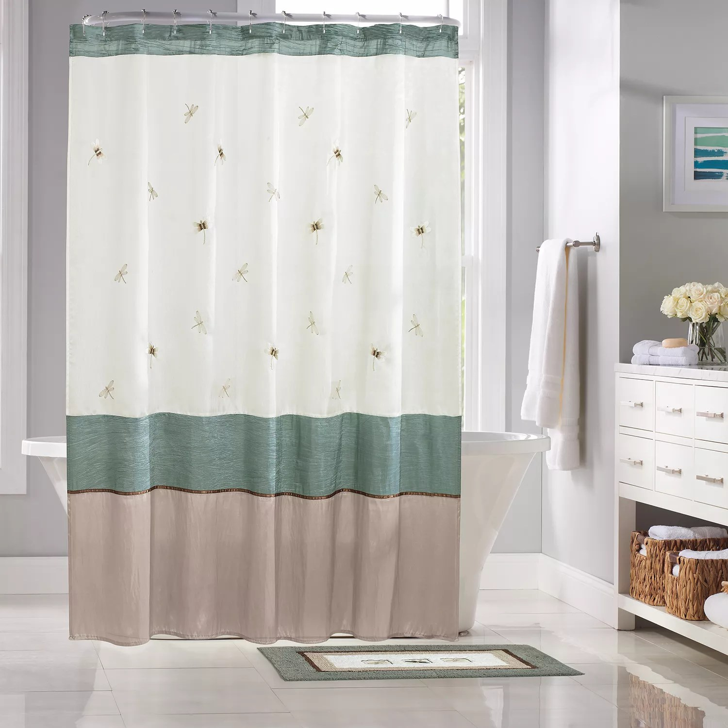 82 Shower Curtain Home Classics Shalimar Dragonfly Fabric Shower Curtain