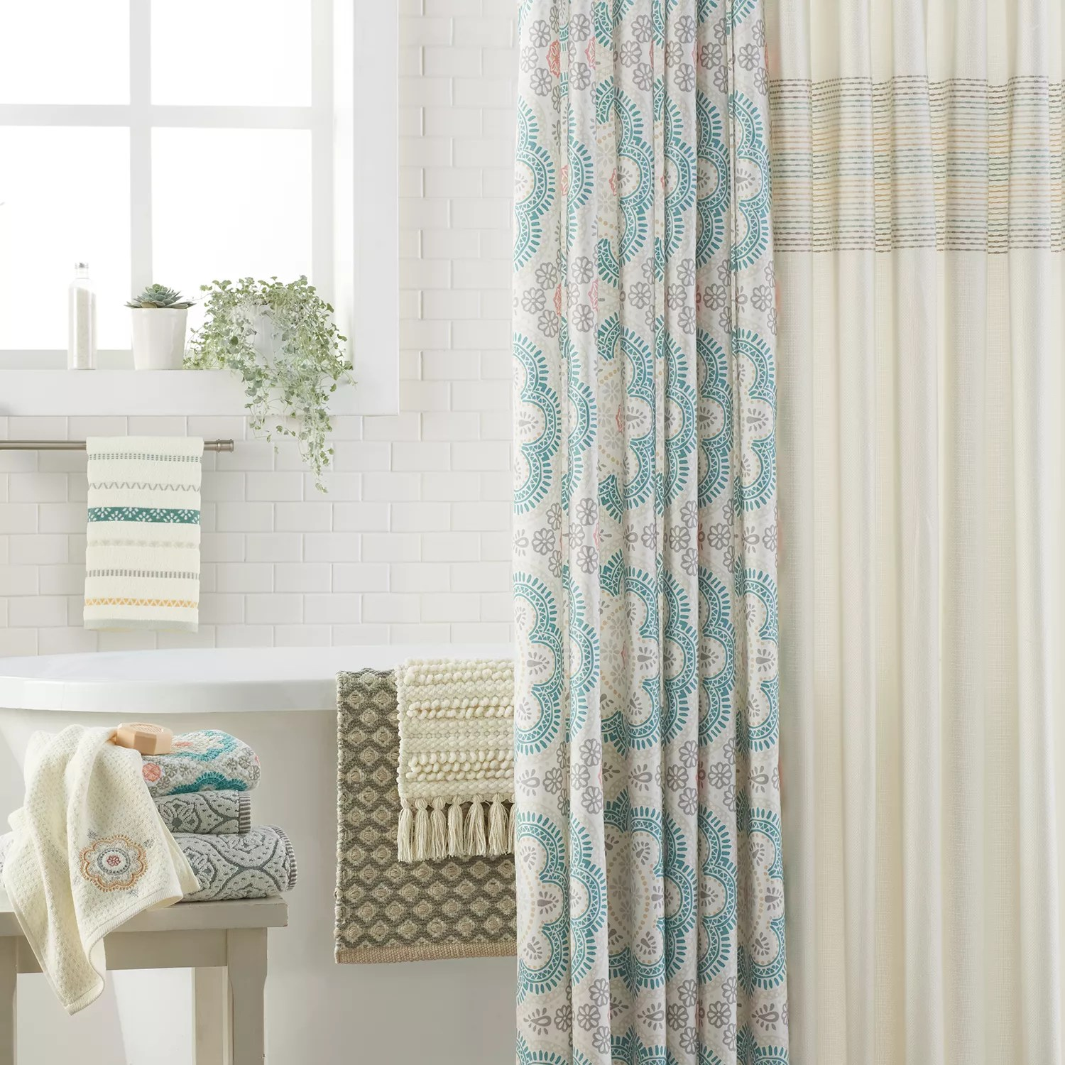 Kohls Com Shower Curtains Sonoma Goods For Life Medallion Textured Shower Curtain Collection