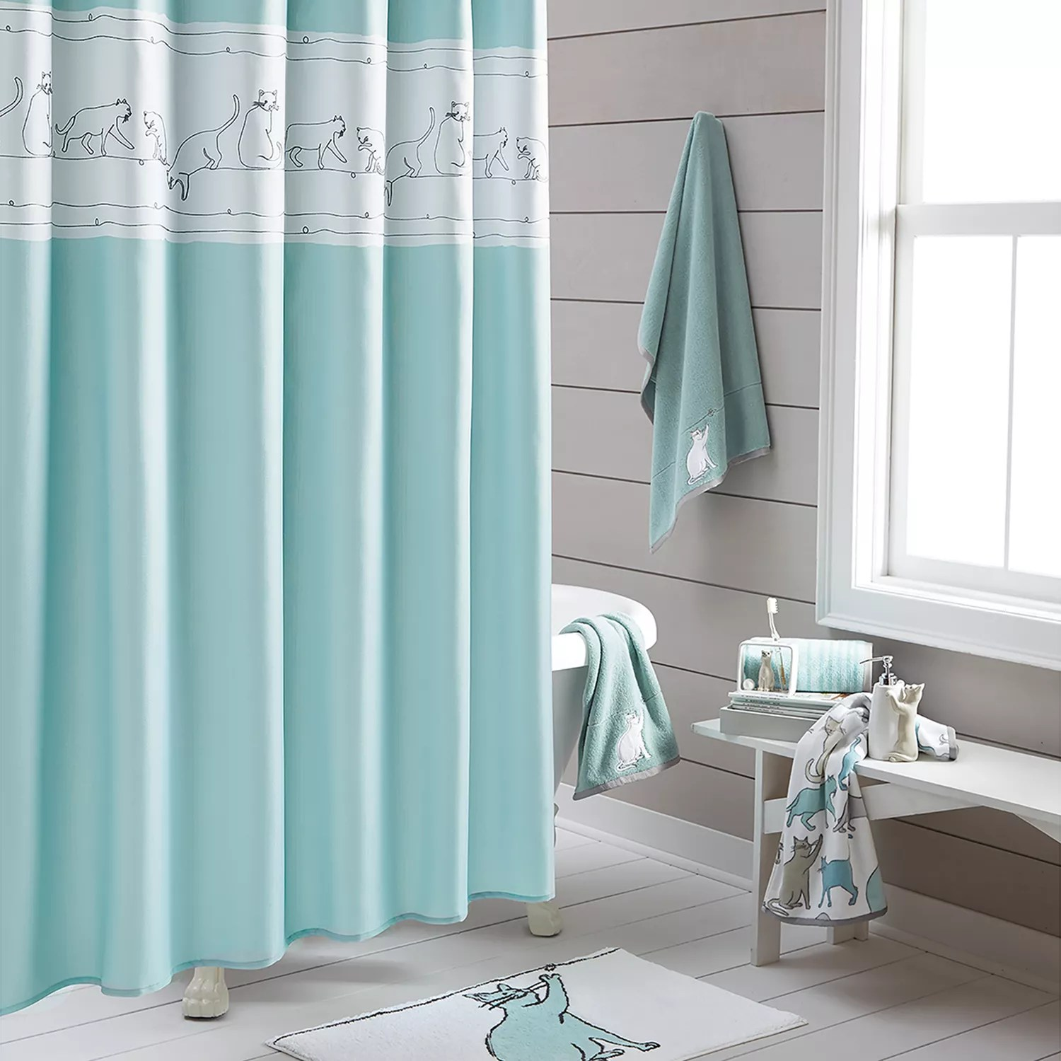 Kohls Com Shower Curtains One Home Embroidered Kitty Cat Shower Curtain Collection