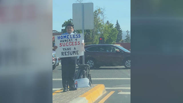 Bay Area unites to support homeless college grad handing out resumes