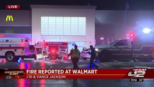 Video NW Side Walmart evacuated after pallets catch fire, - walmart universal city tx