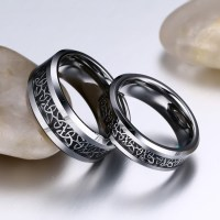 Titanium Steel Silver Black Promise Rings for Couples ...