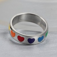 Titanium Colorful Heart Silver Promise Rings For Her ...