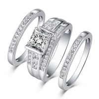 Princess Cut 925 Sterling Silver White Sapphire 3 Piece ...