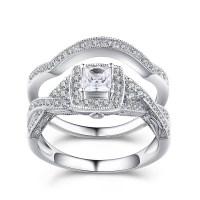 Princess Cut Gemstone 925 Sterling Silver Engagement Ring ...