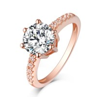 Round Cut White Sapphire Rose Gold Sterling Silver ...