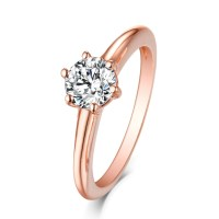 Round Cut White Sapphire Rose Gold 925 Sterling Silver ...