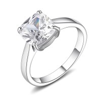 Asscher Cut Gemstone 925 Sterling Silver Promise Rings For ...