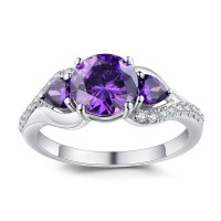 Round Cut Amethyst 925 Sterling Silver Promise Rings For ...