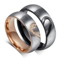 Elegant Heart Design Titanium Steel Gemstone Promise Ring ...